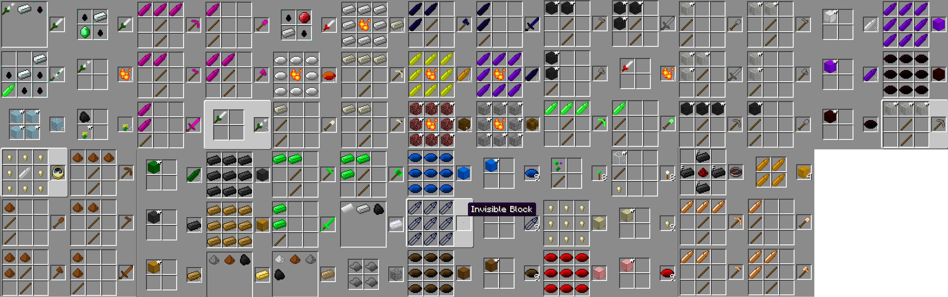 Как сделать minecraft все рецепты