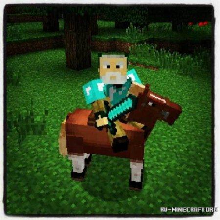 Персонаж на лошади в Minecraft