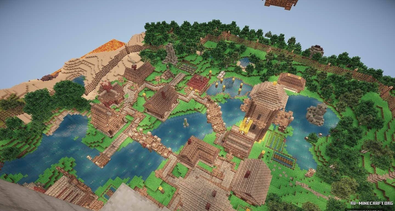 Майнкрафт карта деревня с жителями 1.7.10