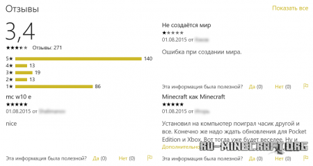Отзывы о Minecraft Windows 10 Edition Beta