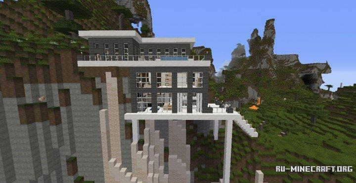 minecraft modern cliff house