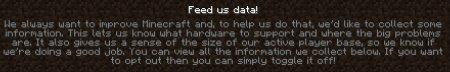 Новый текст в сборе информации Minecraft 1.11