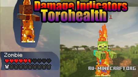 Скачать ToroHealth Damage Indicators для Minecraft 1.9