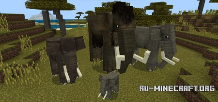 Скачать Elephants and Mammoths для Minecraft PE 1.6