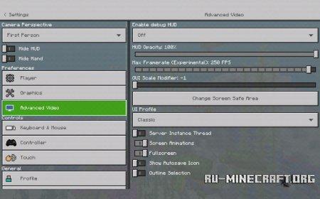 Скачать Organized Options для Minecraft PE 1.4