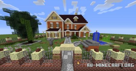 Скачать Suburban House With Pond для Minecraft