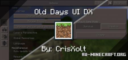 Скачать Old Days UI DX для Minecraft PE 1.14