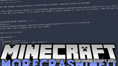 Скачать MoreCrashInfo для Minecraft 1.14.4
