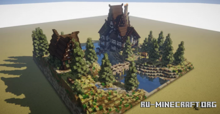Скачать Medieval House and Landscape Diorama для Minecraft