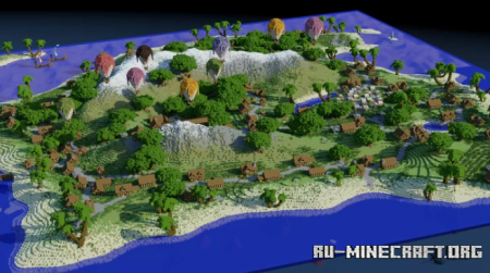 Скачать Island Town Map by DudropBuilds для Minecraft
