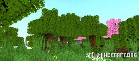 Скачать Fused's Lush Leaves - Bushy Leaves для Minecraft PE 1.16