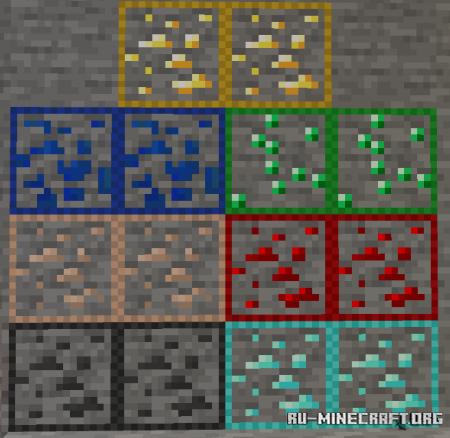 Скачать Outlined Ores (Lulu Tweaks) для Minecraft PE 1.16